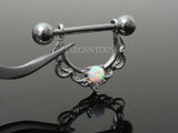 White Opal Centered Filigree Drop Nipple Ring