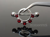 Red Crystal Circle Nipple Shield, 316L Surgical Steel Nipple Barbell