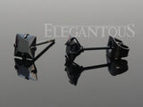 Princess Cut Square Black CZ Ear Stud