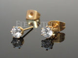 Gold Stud Earring With Round Clear CZ