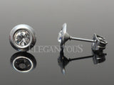 Silver CZ Centered Disc Ear Stud