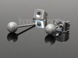Silver Sparkling Ball Ear Stud Ring