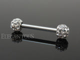Clear Crystal Paved Ferido Balls 316L Surgical Steel Nipple Bar