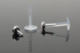 AB Round Push In Flexible Labret Piercing Bioplast, Lip, Helix, Cartilage, Monroe CZ Stud