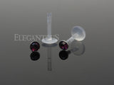 Purple Push In Round Crystal Bioplast Flexible Labret Piercing Bioplast, Lip, Helix CZ Stud