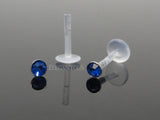 Navy Push In Crystal Flexible Labret Piercing Bioplast, Lip, Helix, Cartilage, Monroe CZ Stud