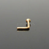 Clear Crystal L Bend, Gold Nose Stud Ring