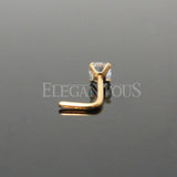3mm Prong Clear Crystal L Bend Nose Stud, Gold CZ Nose Stud | Piercing Nasal en L Cristal Transparent, Stud Zircone Or