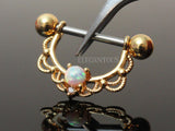 Gold Centered Opal Filigree Dangle Nipple Ring