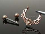 Crystal Filigree Dangle Nipple Ring, Rose Gold Nipple Piercing