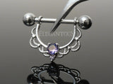 Tanzanite Crystal Filigree Dangle Nipple Ring, Silver Nipple Piercing