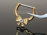 Gold Plated Crystal Centered Ribbon Nipple Clicker Piercing