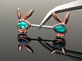 Rose Gold Abalone Inlaid Face Playboy Bunny Ends Nipple Bar