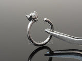 Silver Annealed Hoop Ring, Prong Crystal Nose / Ear Piercing Ring