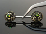 Dark Green Opal Tribal Shield Ends Nipple Barbell, Green Opal Nipple Ring