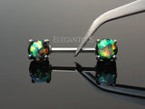 Dark Green Opal Nipple Barbell, Silver Nipple Piercing