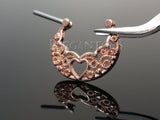 Rose Gold Filigree Heart Clicker Nipple Ring