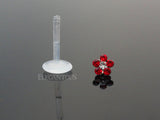 Red Crystal Flower Bioplast Flexible Lip, Helix, Cartilage, Monroe Piercing