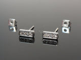 Square Bar Ear Stud, Crystal Bar Earrings