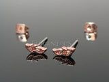 Rose Gold Leaf Stud Earring, CZ Leaf Ear Stud