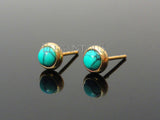 Gold Stud Earring With Centered Turquoise Stone