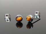 Bezeled Semi Precious Centered Stud Earring