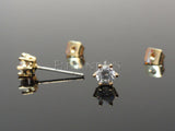 4mm Prong Set Golden Stud Earring | Piercing Or Serti 4mm