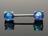 Blue Opal Nipple Barbell, 316L Surgical Steel Opal Nipple Piercing