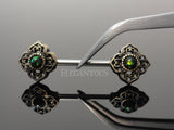 Dark Green Opal Tribal Flower Ends Nipple Barbell, Gold Flower Nipple Ring