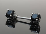 Black Crystal Nipple Barbell, 316L Surgical Steel Cubic Zirconia Nipple Piercing