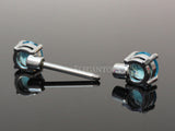 Blue Crystal Nipple Barbell, 316L Surgical Steel Cubic Zirconia Nipple Piercing