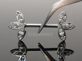 Clear Crystal Petal Flower Nipple Barbell, Flower CZ Nipple Ring
