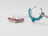 Silver Fake Septum Ring, Non Piercing Pink / Blue Crystal Septum Ring