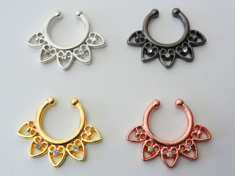 Faux Septum Ring, Non Piercing Crystal Septum Ring, 4 Colors