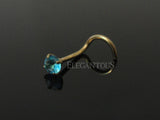 Blue Crystal Nose Screw Ring