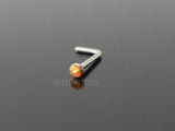 Orange Opal Nose Stud, 20G Opal Nose Piercing L Bend
