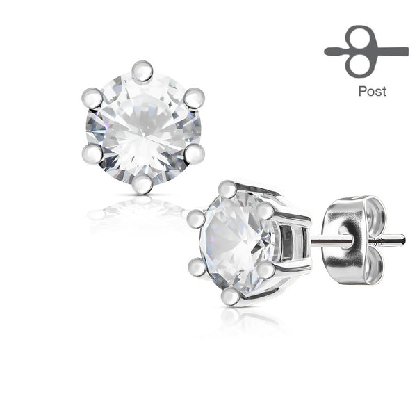 4mm Prong Set Clear CZ Stud Earring | Piercing Serti Cristal Zircone Transparent 4mm