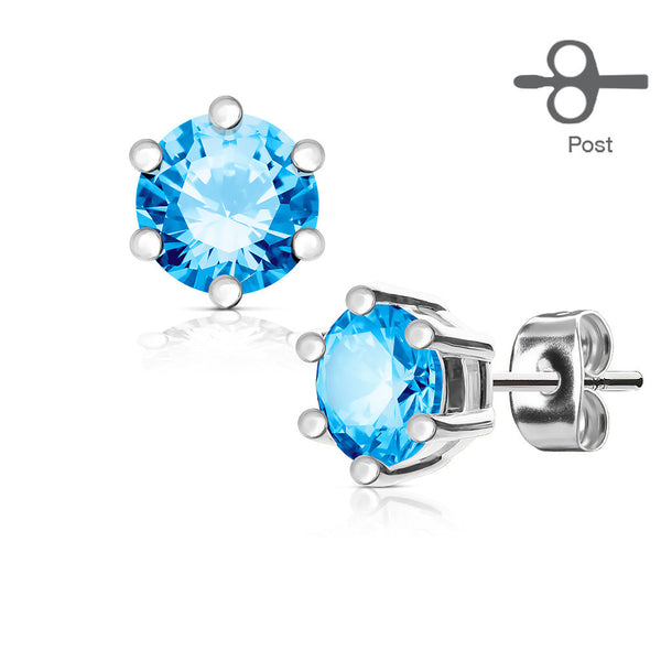 4mm Prong Set Blue CZ Stud Earring | Piercing Serti Cristal Zircone Bleu 4mm