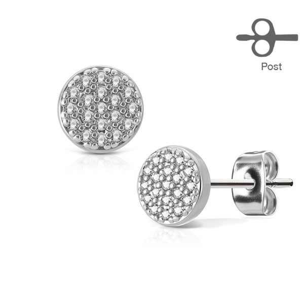 Crystal Paved Round Stud Earrings, Silver Ear Stud