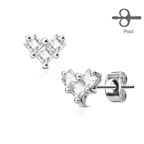 Clear Crystal Heart Stud Earring