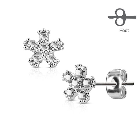 Clear Crystal Flower Stud Earring