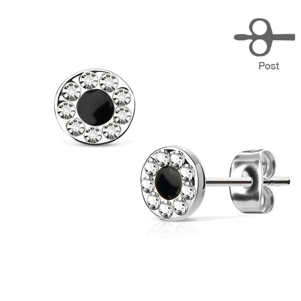 Round CZ Channel Stud Earrings, Silver Circle Stud Earring
