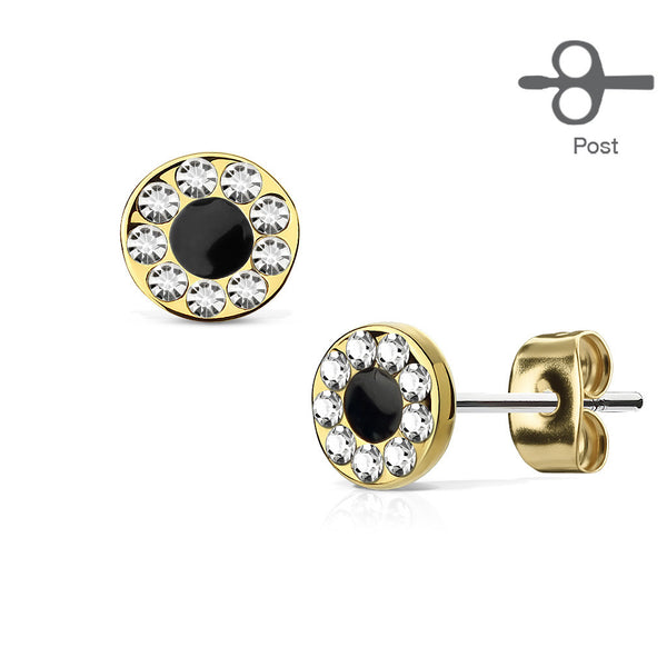 Round CZ Channel Stud Earrings, Gold Circle Stud Earring
