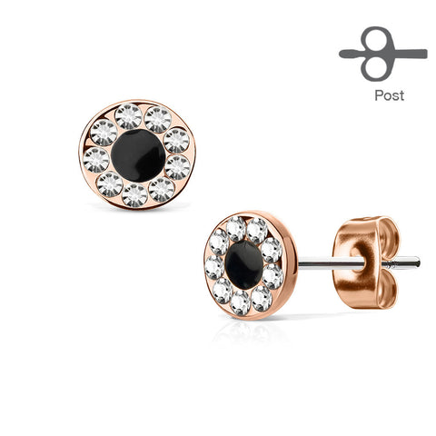 Round CZ Channel Stud Earrings, Rose Gold Circle Stud Earring