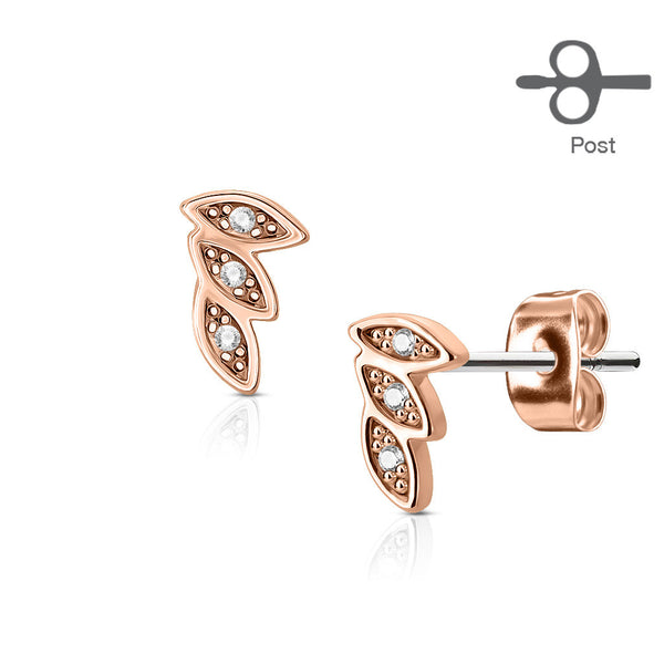 CZ Paved 3 Leaves Earring Studs, Rose Gold Leaf Stud Earring