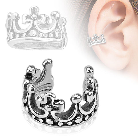Crown Design Rhodium Plated Brass Non Piercing Ear Cuff
