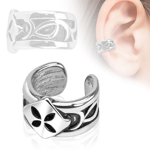 Four Leaf Rhodium Plated Brass Non Piercing Ear Cuff