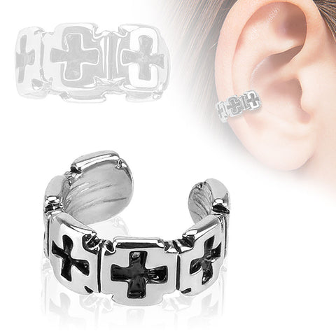 Rhodium Plated Brass Weave Pattern Non Piercing Cuff Earring