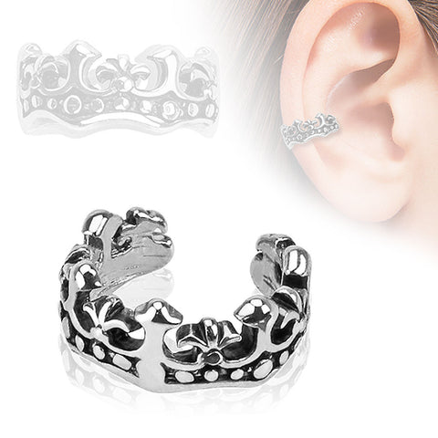 Rhodium Plated Brass Flower Non Piercing Cuff Earring