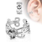 Carved Swirls Clear Crystal Centered Cuff Earring